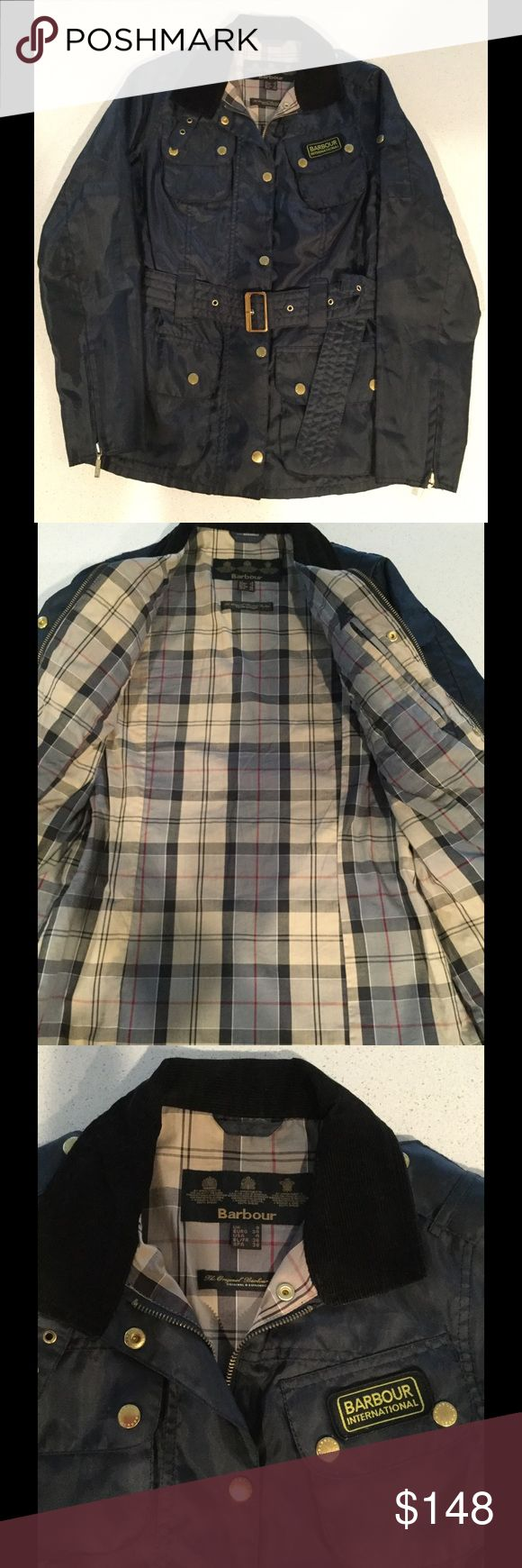 Ladies Barbour International Navy Belted Jacket 4 Ladies Barbour International Navy Belted Jacket Size 4. Excellent condition, like new, worn twice!!!  This is a awesome jacket and is not made of the waxed cotton, but a nylon windbreaker material. Barbour Jackets & Coats