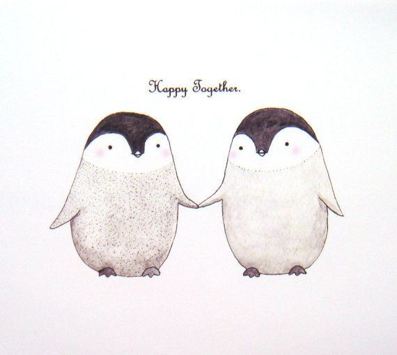 Cute Penguin Love Original Animal Illustration Print di mikaart, $7.99