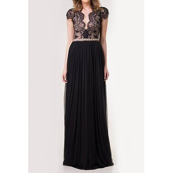 $19.09 Stylish Scoop Neck Lace Splicing Backless Long Dress For Women