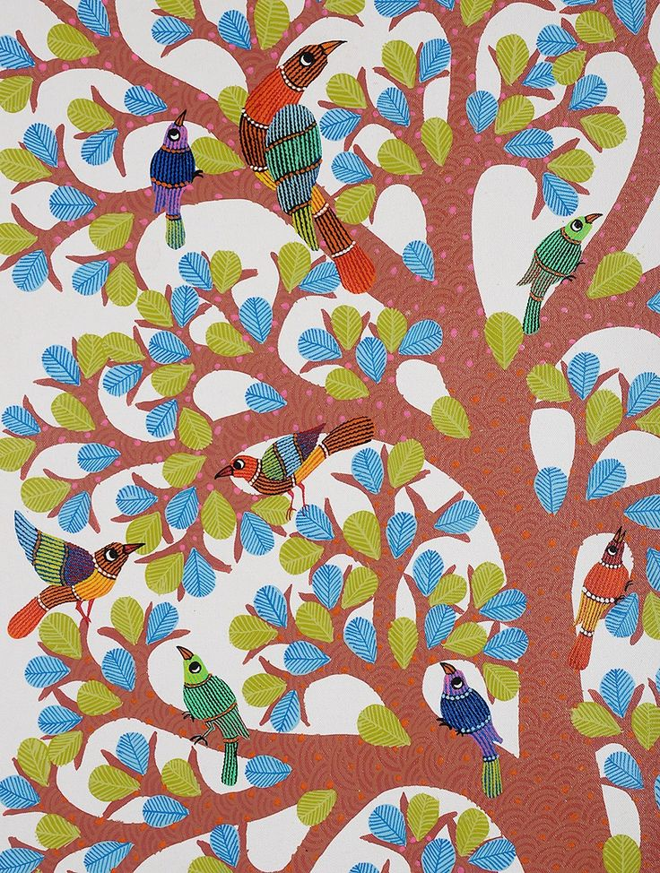Buy Kaushal Prasad Tekams Gond Artwork with Tree of Life and Peacock- 49.5in x 30in Online at Jaypore.com