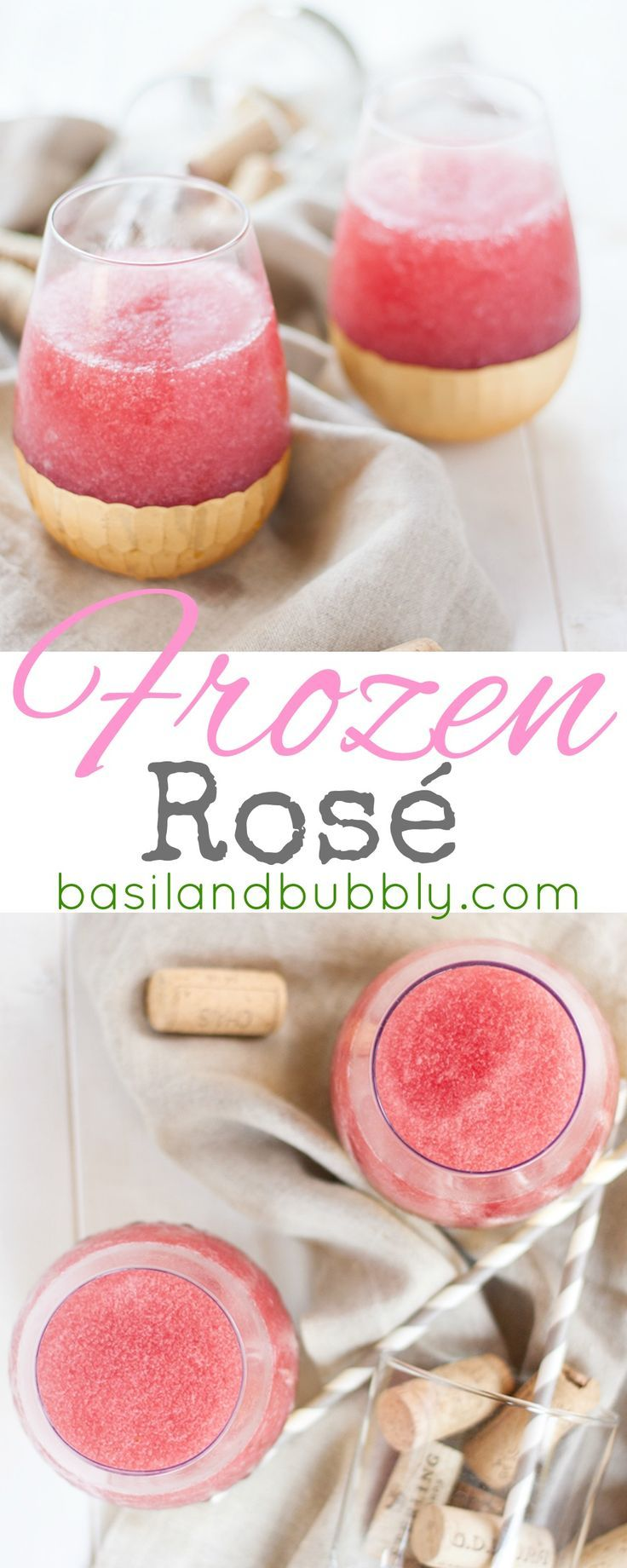 Frozen Ros -- I'm drinking this easy slushy frozen wine cocktail all summer long. Love it for porch drinking or a brunch cocktail