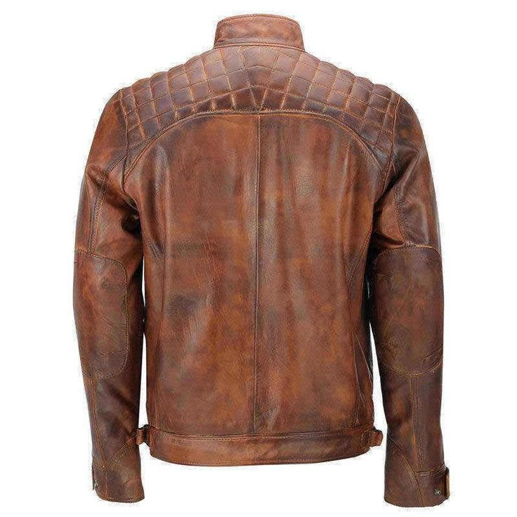 Men's Vintage Motorcycle Classic Diamond Brown Distressed Leather Jacket. Made of pure Sheep Skin. TFJ presents this vintage style Biker's Love. Shop Now!