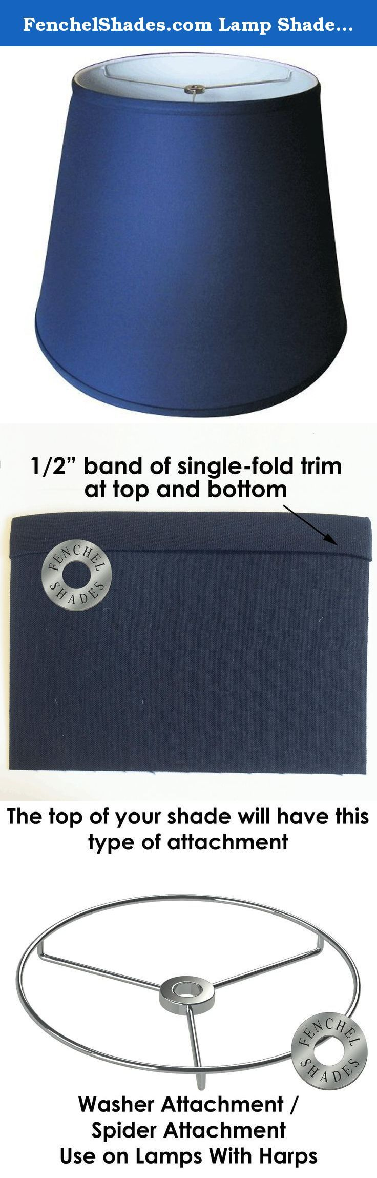 """FenchelShades.com Lamp Shade 11x17x13 Navy Blue Linen Fabric. """"The outside of this lamp shade is a beautiful navy blue linen fabric. The inside of the shade is white styrene. You may change the shape, size or covering of this lamp shade by visiting our web site www.fenchelshades.com."""