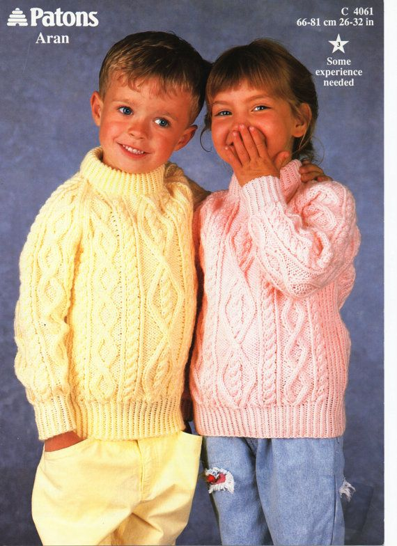 2C8012 Childrens Knitting Pattern childrens aran sweater aran jumper crew neck 26-32 inches ARAN Childrens Knitting Patterns PDF Instant Download Please refer to the pictures above for information from pattern on sizes, materials used, needle size etc. Click on the white arrow half way up the picture on the right side. Where a discontinued yarn is used, I check the needle size for a modern equivalent and include in the description. This is meant as a guide only. Please check your tensi...