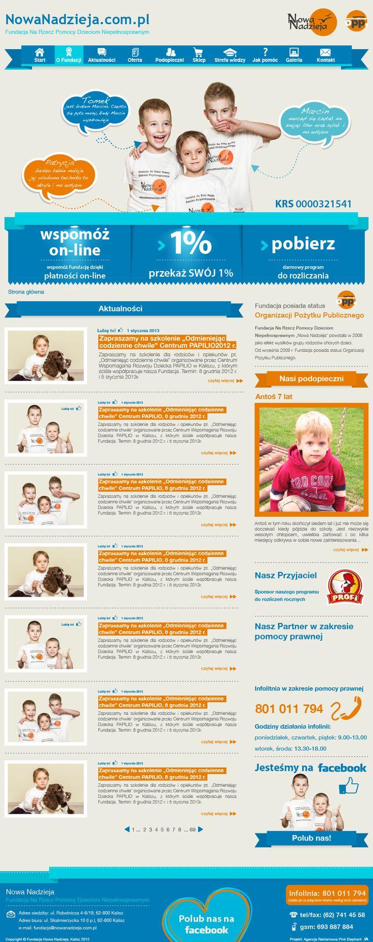 Website for the foundation New Hope | Design: www.pinkelephant.pl /web design /layout /portfolio /web /design