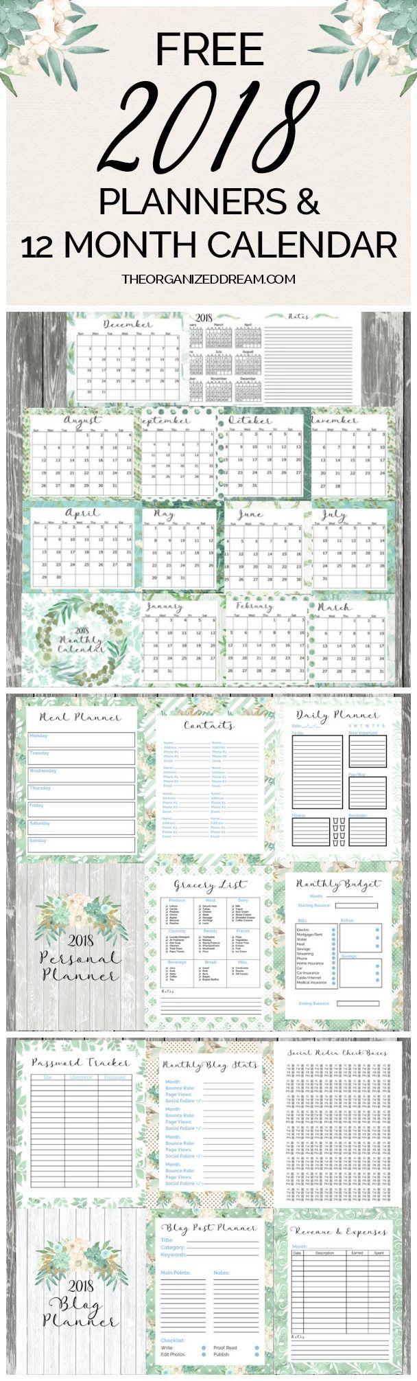 free planner printables 2018 pdf