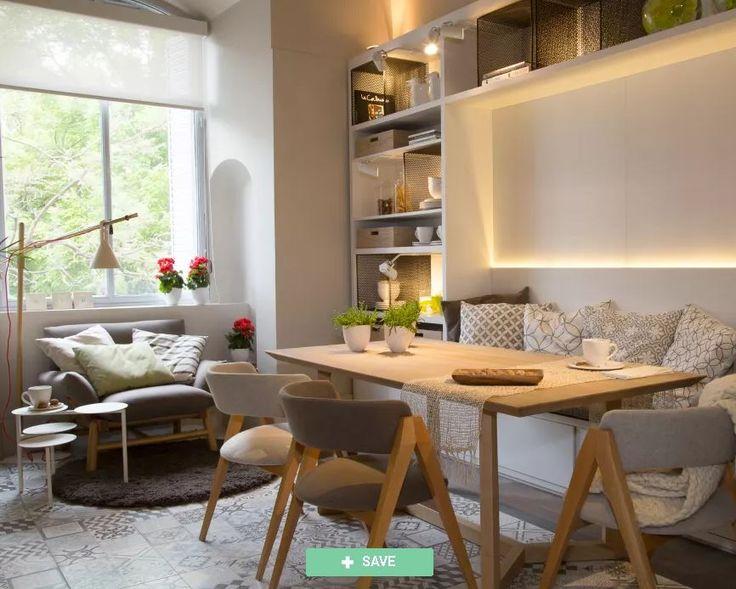 Ciudaris Inmobiliaria | Cómo dividir los espacios en tu depa | Divide los ambientes con un librero | Esta librería permite que la división de este espacio sin cortar la comunicación con el otro, compartiendo ciertas cosas como la iluminación en ambos espacios.