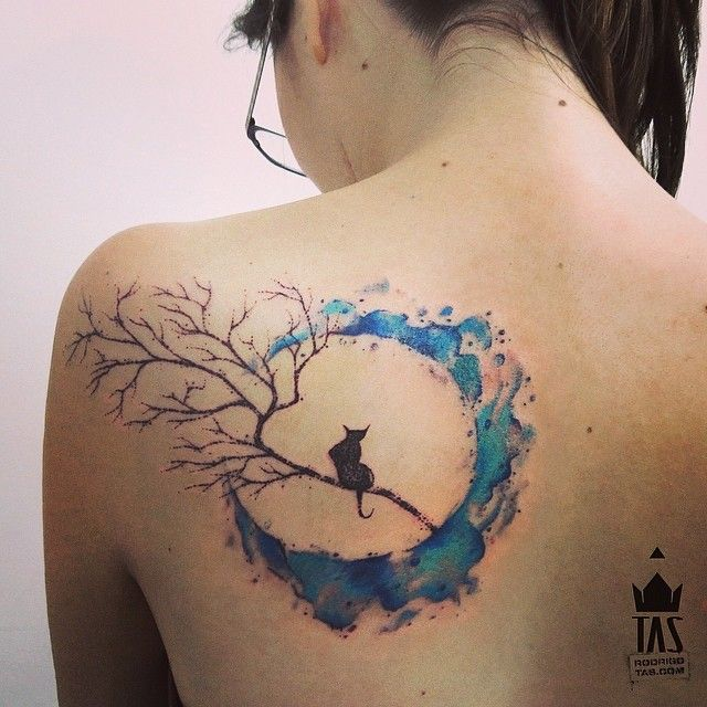"cat moon watercolor tattoo rodrigotas @Rodrigo Tas | Websta no cat and rope around the moon instead of the tree brance. ""hung the moon"" kind of idea"