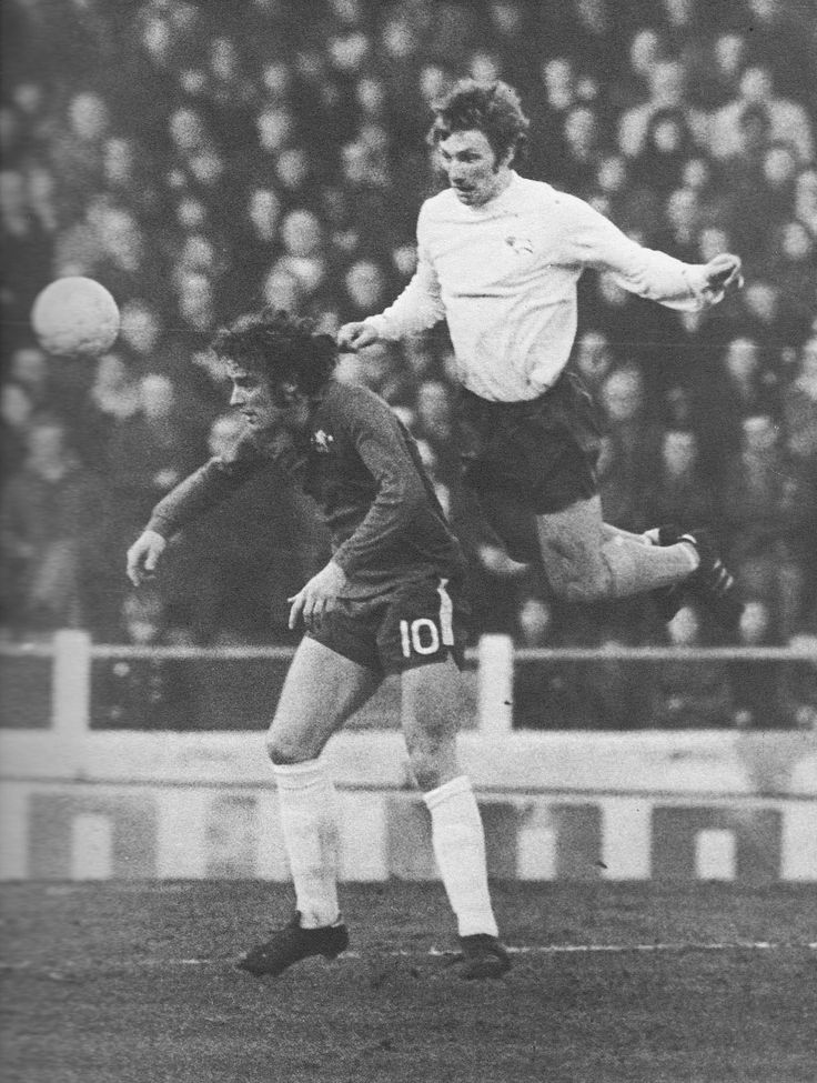 30th December 1972. Derby County defender Colin Todd out jumping a clearly unfit Chelsea centre forward Ian Hutchinson, who was forced to hobble at half time, at Stamford Bridge.