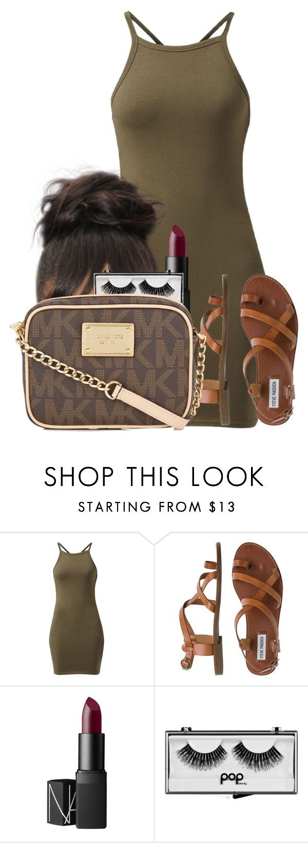 """Untitled #2617"" by alisha-caprise ❤ liked on Polyvore featuring Steve Madden, NARS Cosmetics, Pop Beauty and Michael Kors"