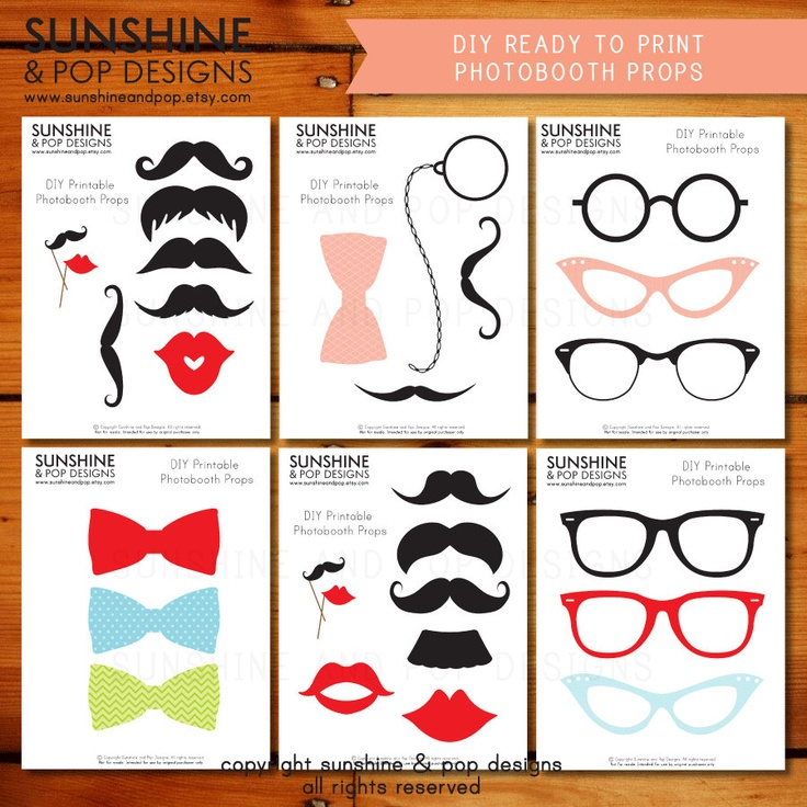 INSTANT DOWNLOAD - DIY Mustache Photo booth Props - Printable Lips Glasses Ready to Print - Moustache decorations party printable photobooth. $6.49, via Etsy.