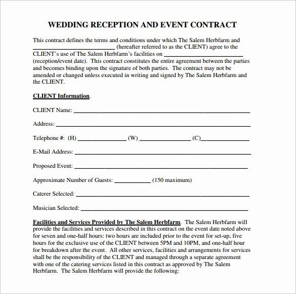 Wedding Venue Contract Template In 2020 Contract Template