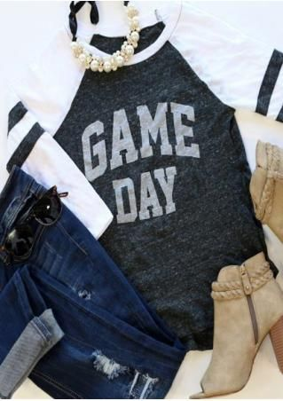 GAME DAY Printed Splicing O-Neck T-Shirt