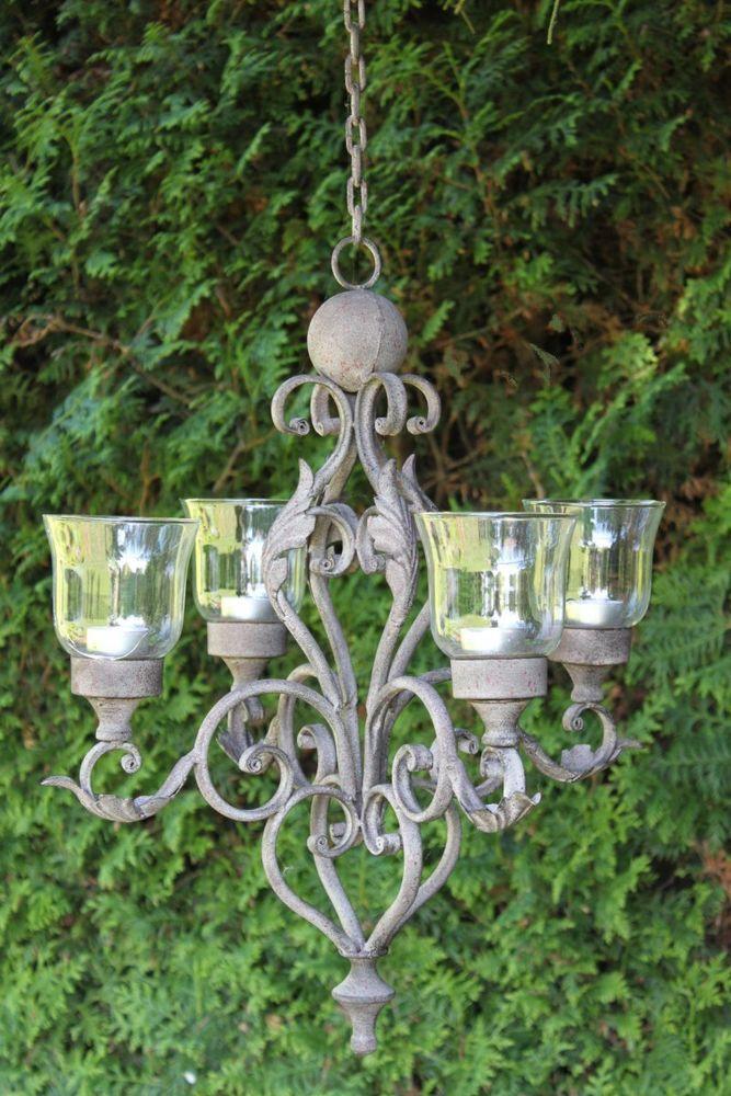 Teelichthalter hängend Kerzen Kronleuchter antik shabby Landhaus Deckenleuchter  | eBay