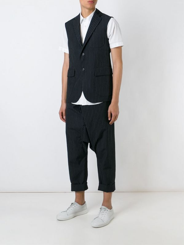LARDINI BY NICK WOOSTER - Pantaloni gessati neri e bianchi con cavallo basso da uomo | Di Pierro