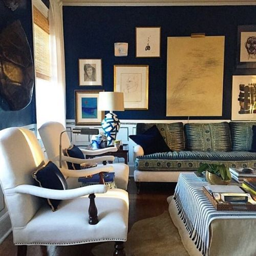 More navy blue wall inspiration. William Mclure Design __________ #navyblue…