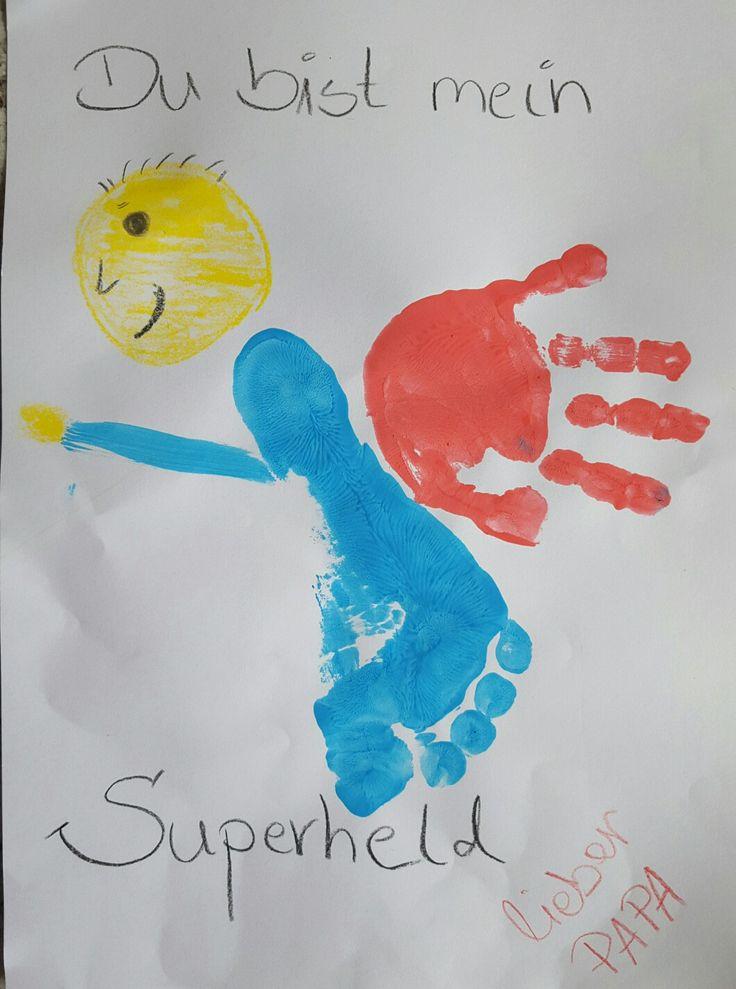 Karte zum Vatertag oder zum Geburtstag vom Papa mit Fingerfarben.