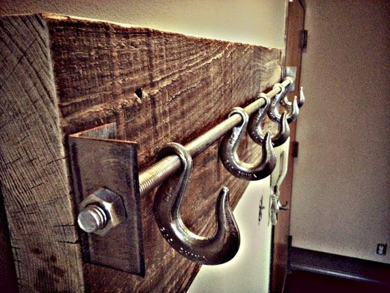 """Reclaimed Lumber Industrial Coat Rack """"The Autumn"""" or could be a hat rack."""