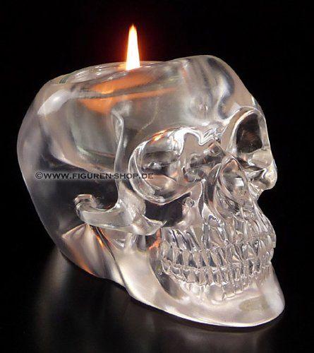 Translucent Skull Candle Holder