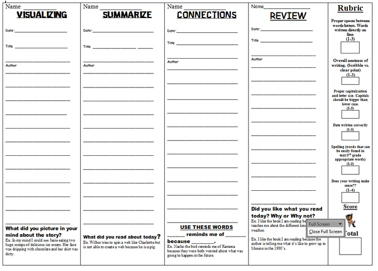 Free Printable Worksheets and Reading Logs Third grade