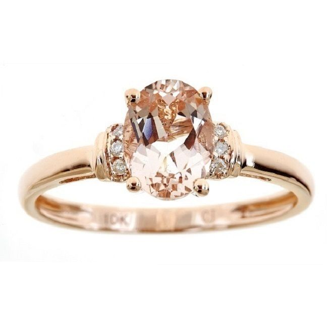"<li>Morganite and diamond accent ring</li> <li>10k rose gold jewelry</li> <li><a href='http://www.overstock.com/cgi-bin/d2.cgi?PAGE=STATICPAGE&page_id=10512' target=""_blank""><span class=links>Click here for ring sizing guide</span></a>"