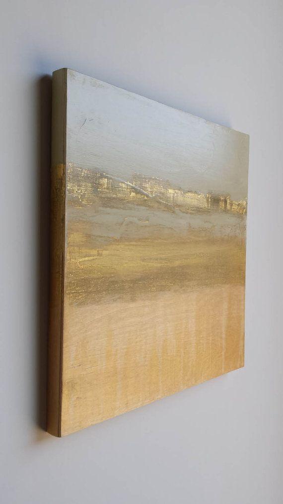 Oro paisaje abstracto mezclado medios pintura con oro por seenshop
