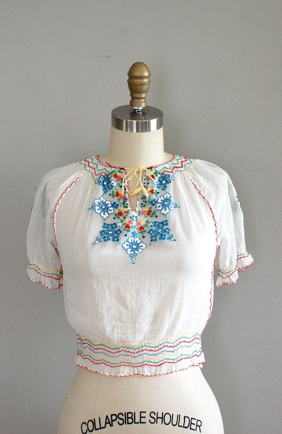 I've decided peasant blouses are going to be my summer look. This one is from the 30s!