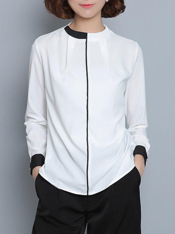 春と秋の新しい無地スタンドネック長袖シンプルシャツ - レディースファッション激安通販|20代·30代·40代ファッション