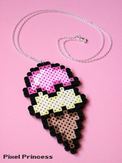 "A yummy two scoop ice cream cone made out of perler beads, attached to a 28 inch chain!  PLEASE READ: if you are purchasing this necklace for a child, please choose the ""child size"" option! Otherwise the necklace will be too long.   ~ Custom Colors: This necklace can easily be made in other c..."