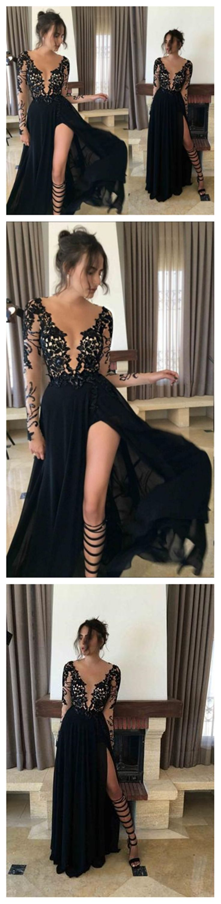 Long Sleeve Black Mermaid Evening Prom Dresses, Sexy Deep V Neckline Slit Party Prom Dress, Custom Long Prom Dresses, Cheap Formal Prom Dresses, 17076
