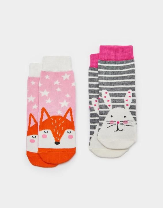 Joules UK NEAT FEET BabyGirls Two Pack Bamboo Socks Bunny
