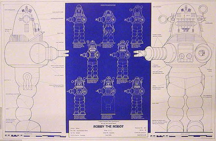 Vintage Robby Robot Blueprint Poster Forbidden Planet 24x36 Rolled ...