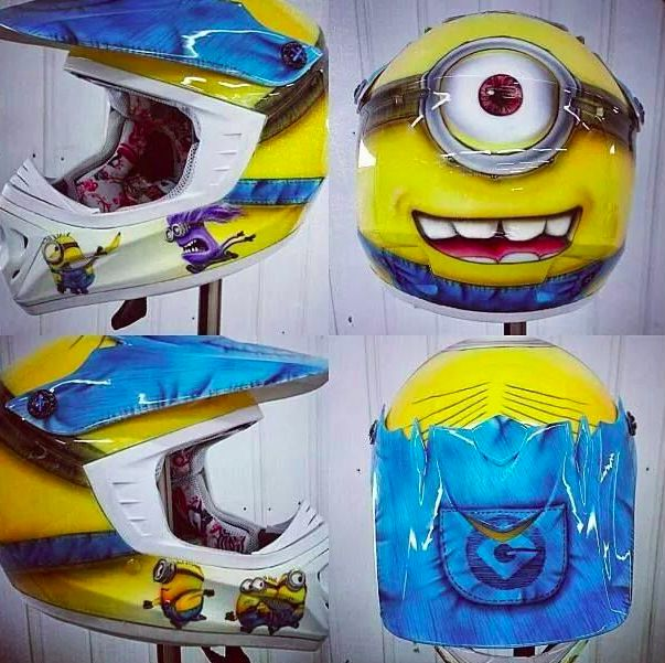 minions themed motorcycle helmet for kids