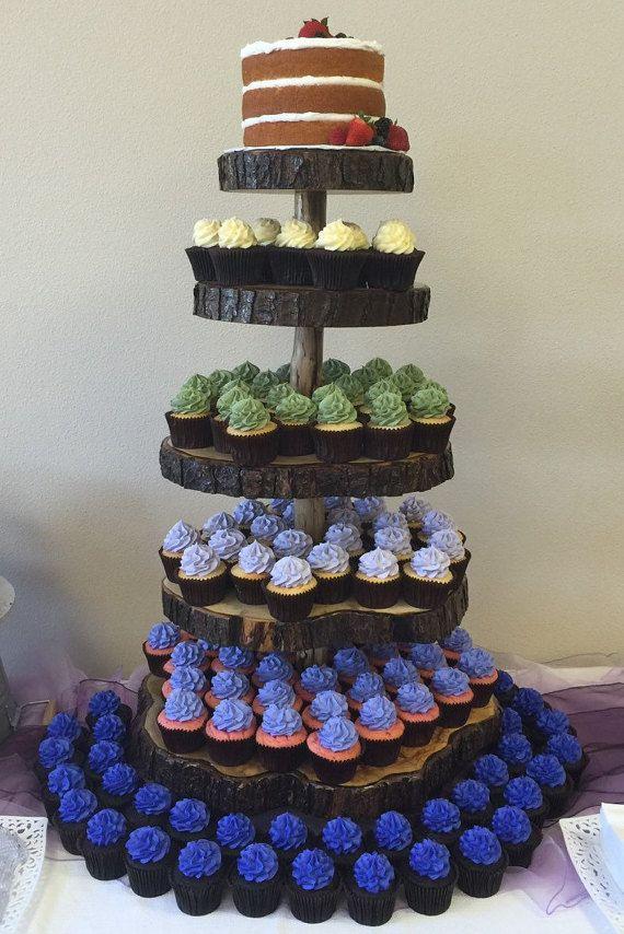 5 Tier Cupcake Stand Rustic Log Slice by SmittysBoysHardWoods