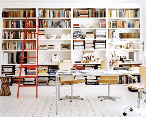 Library/Workspace: Bookshelves, Home Libraries, Chic Home, Books Shelves, Ladders, Workspaces, Bookca Style, Red Ladder, Home Offices