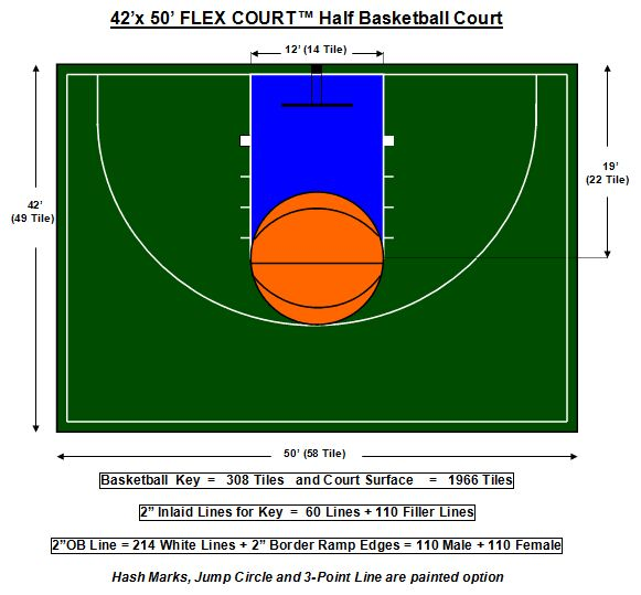 42 x 50 flex court basketball court home pinterest for Residential basketball court dimensions