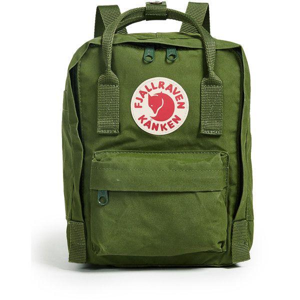 Fjallraven Kanken Mini Backpack ($70) ❤ liked on Polyvore featuring bags, backpacks, leaf green, green backpack, mini rucksack, fjallraven backpack, mini bag and nylon backpack
