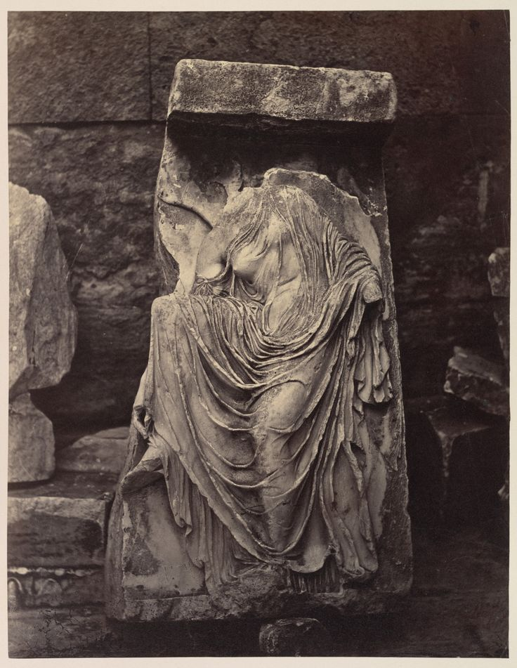 """Fragment from Balustrade of the Temple of Athena Nike, Acropolis, Athens"" by William James Stillman c. 1882 albumen silver print from glass negative Gillman Collection, Metropolitan Museum of Art"