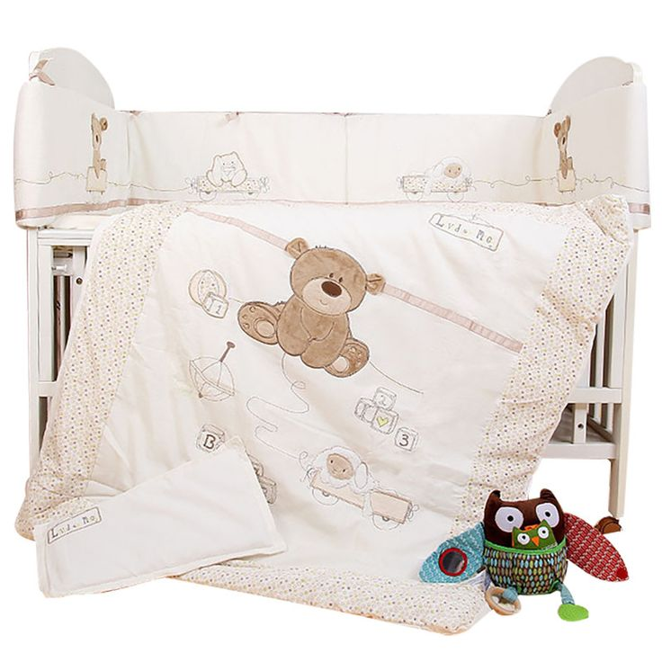 7Pcs Baby Bedding Set for Crib Newborn Baby Bed Linens for Girl Boy Cartoon Bear Detachable Cot Bumpers Sheet Quilt