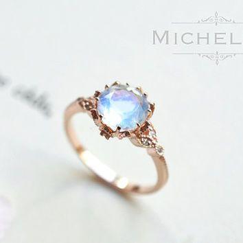 Vintage Moonstone Floral Engagement Ring in 14k or 18K Solid Gold, Art Nouveau…