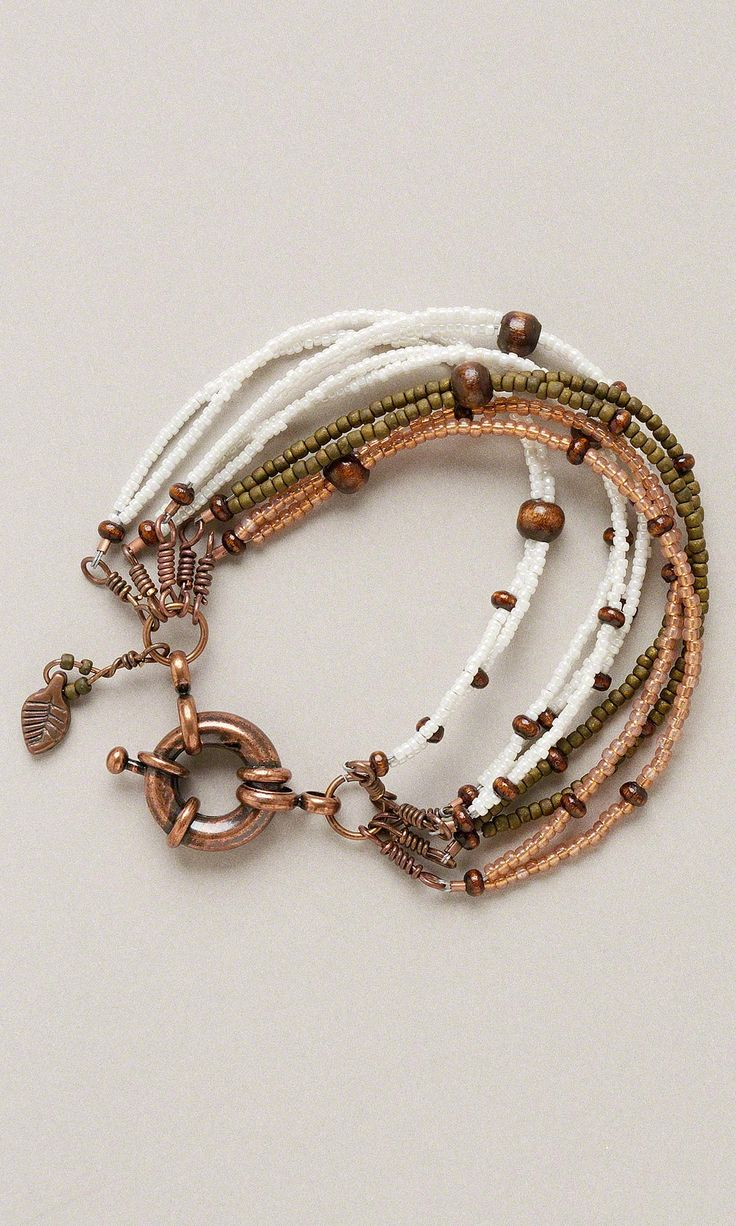 Jewelry Design - Multi-Strand Bracelet with Seed Beads, Wood Beads and Copper Findings - Fire Mountain Gems and Beads