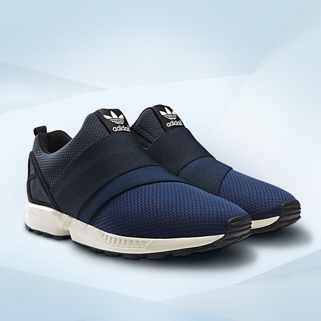 Blue is the colour. Laces are out, so strap yourself in for spring with the adidas ZX Flux slip on.