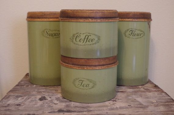 Avacado kitchen canisters set of four 1970s vintage for Avocado kitchen cabinets