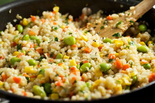 Pearl Couscous with Veggies via veggiechick.com #vegan #vegetarian