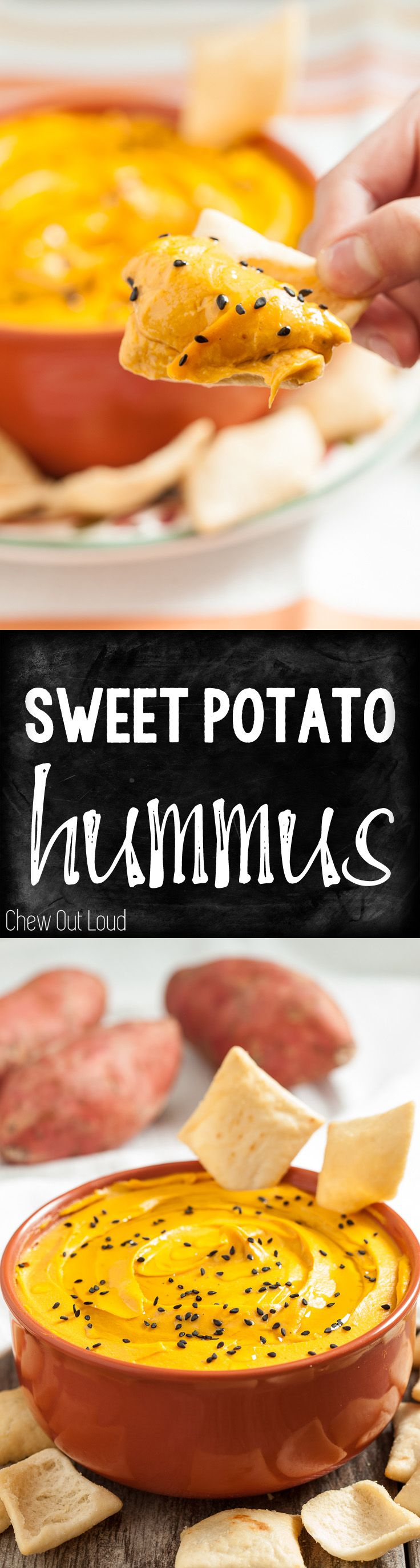 Sweet Potato Hummus. Healthy, clean-eating, and supremely delicious. Smooth and creamy, all without cream.