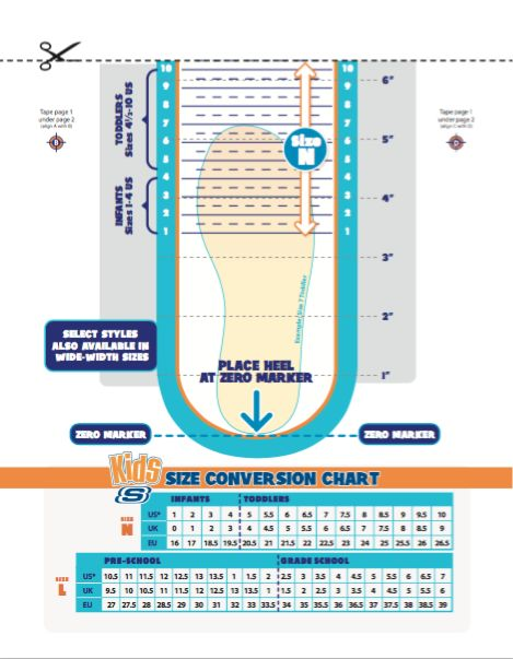 Skecher's Printable Shoe Size Chart for Kids!  Genius!  Go to this link:  http://sh.skechers.com/skechers/new-site/kids-size-chart.pdf