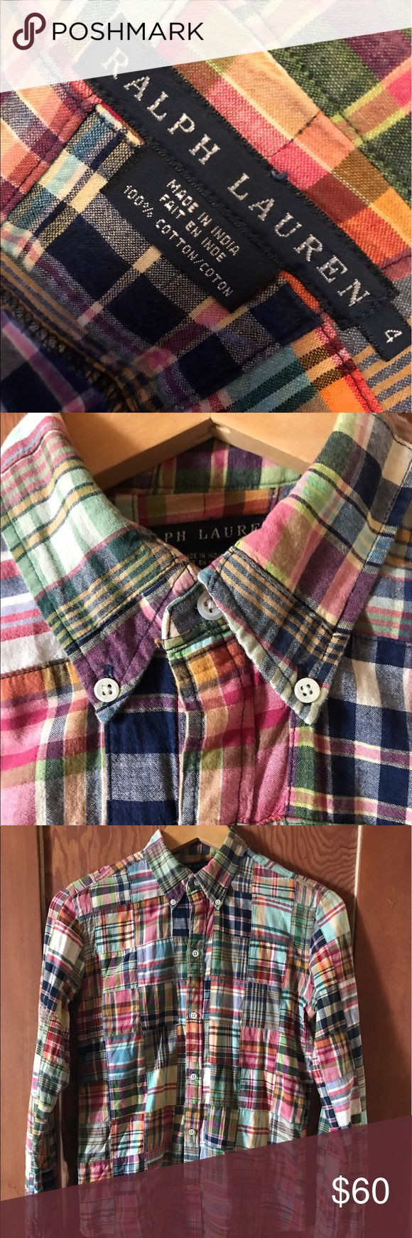 Ralph Lauren patchwork madras shirt sz4 Ralph Lauren black label patchwork madras button down shirt for women. Size 4. Excellent condition. Fabulous shirt indeed...In fact, maybe I want to keep it! J.K. Ralph Lauren Tops Button Down Shirts