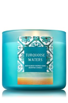 """Turquoise Waters - 3-Wick Candle - Bath & Body Works - The Perfect 3-Wick Candle! Made using the highest concentration of fragrance oils, an exclusive blend of vegetable wax and wicks that won't burn out, our candles melt consistently & evenly, radiating enough fragrance to fill an entire room.�Plus, beautiful frosted glass adds cool coastal style to your d�cor!�Burns approximately 25 - 45 hours and measures 4"""" wide x 3 1/2"""" tall."""