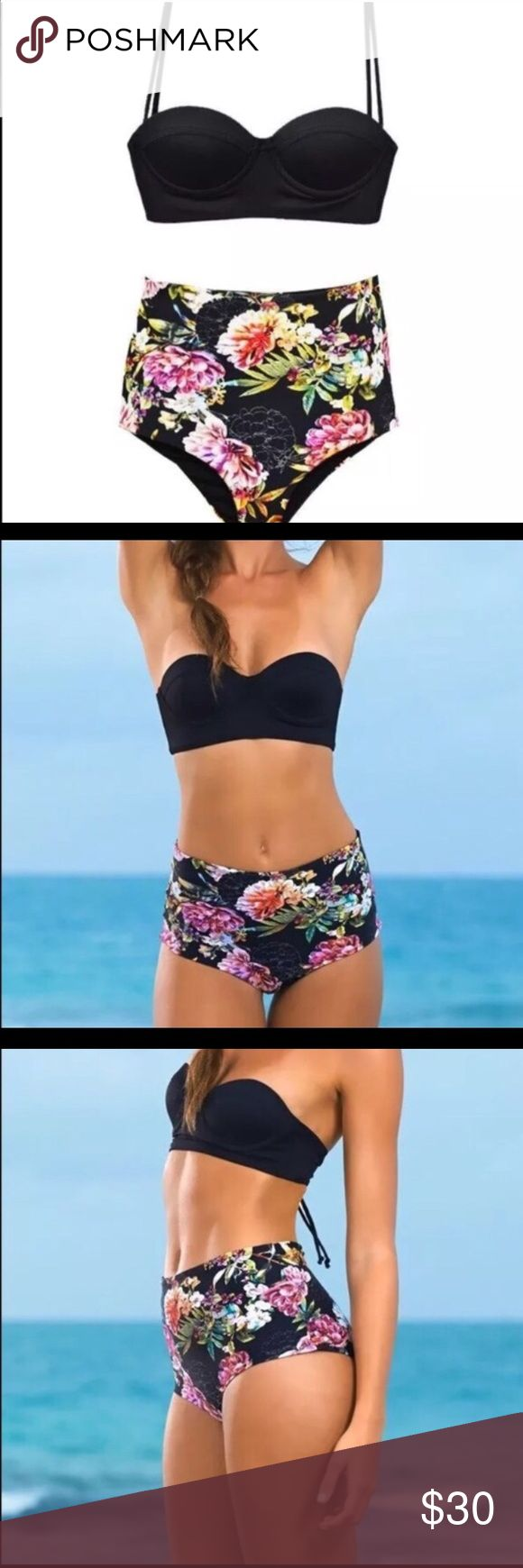 Floral high waisted bikini! Super cute & brand new New with tags high waisted bikini - the whole suit is adorable and the top specifically is very nice and versatile :) Swim Bikinis