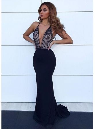 1693b7a1de USD 129.00 - 2019 Charming Deep V-Neck Mermaid Sleeveless Evening Gown